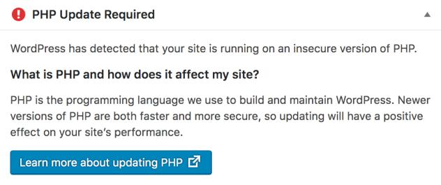 "WordPress仪表板中""需要PHP更新""小部件的屏幕截图。 包含有关检测PHP的不安全版本,它如何影响您的站点以及有关升级信息的链接的信息。"